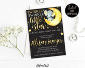 Baby Showers Twinkle Elephant Baby Shower Invite Twinkle Twinkle Baby Shower | Etsy