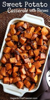 Caramelized sweet potato casserole with crunchy pecans is the perfect vegan side…