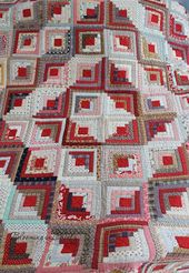 Antique Log Cabin Quilt like the use of red and pi…
