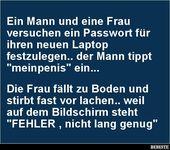 Ein Mann und eine Frau versuchen ein Passwort für…
