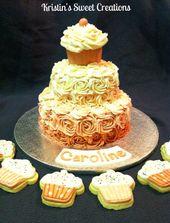Rosa Rosette Cupcake Kuchen für Babys ersten Geburtstag