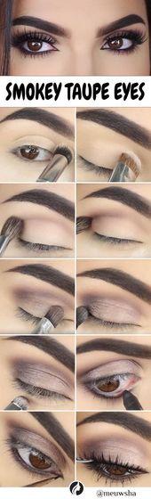 Diese Schritt für Schritt Smokey Taupe Eye Makeup DIY ist perfekt und kann … …