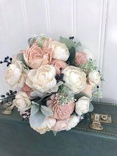 Sola flower bouquet, blush pink sola wood flower wedding bouquet, eco flowers, alternative keepsake bouquet, navy blue wedding   – Beautiful Day