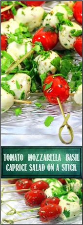 Tomato and Mozzarella Caprese Salad on a Stick – 52 Appetizers Recipe… An Ital…