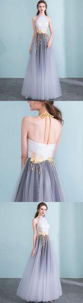 Sparkly Pretty Tüll V-Ausschnitt Lange Ballkleider, Das neueste Abendkleid von ainip
