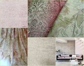 Designers Guild Fabrics, Cream and Pink, Printed Silk Curtain Fabric, From Jane Hall Design