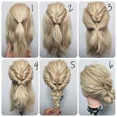 Einfache Hochsteckfrisuren für mitteldickes Haar – #einfach # für #Haar #hoch … – haar