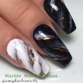 30 perfekte Sarg-Acrylnägel-Designs für den Sport… – Simple Marble Nail ART Designs
