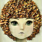 Was für eine coole Idee! Spitzabfälle von Bleistiften bilden die Haare.