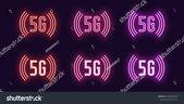 Стоковая векторная графика «Neon Icon Set 5g Network Mobile» (без лицензионных платежей), 1365508679