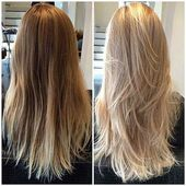 Long hair step cut in the back – #hair # rear #long #longbob # step cut