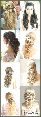 #frisurhalboffen #frisuren #halboffe # semi-open # curls curls hairstyles Halboffe …#curls #frisuren #fr