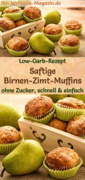 Saftige Low Carb Birnen-Zimt-Muffins – einfaches Rezept ohne Zucker