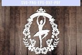 Customizable ballerina papercut template, ballet svg chopping file, floral wreath, cricut dxf pdf, png, paper artwork , flower eps, nursery svg