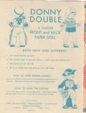 """Vintage Paper Doll Buch """"Donny Double Front & Back"""" von Corinne R. Bailey"""