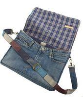 Converted Levis denim shoulder bag, jeans pocket