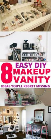 Best makeup vanity diy organization small spaces 41+ Ideas