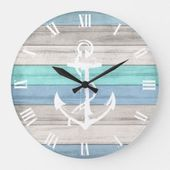 Blue & White Beach Wood Nautical Stripes & Anchor Large Clock | Zazzle.com   – Tropical bedding