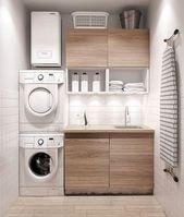 Diese moderne minimalistische Wäsche ist klein und dennoch vollständig. Kompakt und effizient de