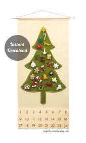 Fühlte Adventskalender Muster – traditionelle Weihnachtsbaum Countdown mit 24 geschätzten Charakter Ornamente – DIY   – natale 2016