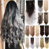 Frauen-realer seidiger weicher Mode-voller Kopf-Klipp in den Haar-Verlängerungen gerade / lockiges gewelltes langes Haar 8Pcs / Set
