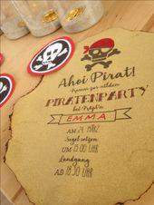 Einladungskarte Piratengeburtstag. Gedruckt auf altem Büttenpapier, …   – kreative Einladungen / Bastelideen / Kuchen / Party / Handmade / Design