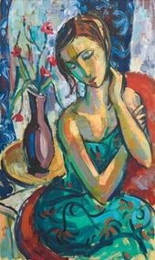 View The Green Sarong (2007) By Hennie Niemann Junior; oil on canvas; 100 x 59.5…