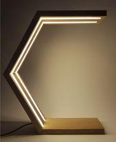 Holz-Schreibtischlampe | Schlafzimmer Lampe | Nachttisch-Lampe | LED Lampe für indoor, sechseckige minimalistisches Design, Designer-Leuchte