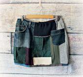 Damen Boho Rock Patchwork Kleidung Upcycled Kleidung Grunge Wear Short Mini Länge Winter Fashion Street Style Urban Rock XL 'RUTHIE' – Upcyclingmode – aus Alt wird Neu