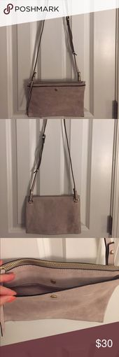 (NWOT)H&M Neutral Suede Crossbody Very soft, real …