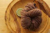 Handspun Alpaca Merino – CHERRY COLA – Wool Silk Yarn Chocolate Brown Red White Lace Swirl Luxury