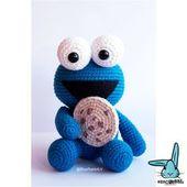Amigurumi Cookie Monster pattern. Crochet pattern. Languages: English, French, Norwegian, Danish, Spanish, Portuguese, German – Häkel Anleitung