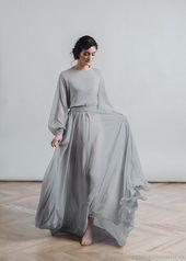 Ein einfaches Kleid in staubgrauer Farbe Langarm Nirvana – Ultimative Kollektionen von Kleidern | AlaydaAmara.ml