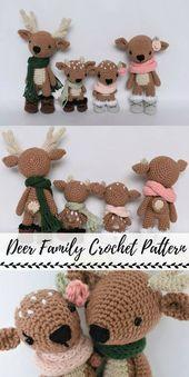 Süße kleine Hirsche Familie häkeln Amigurumi-Muster-Bundle! Lieben Sie diese entzückende …