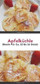 Apfelküchle (reicht für ca. 12 bis 16 Stück) #apfelmuffinsrezepte Zutaten: 90…
