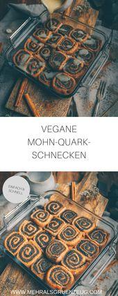 Veganer Mohn-Quark-Schnecken mit Puderzucker-Zitronen-Soße