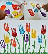 Blumenkunstprojekt-Verwenden Sie eine Gabel für d…