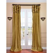 Exclusive Fabrics & Furnishings Ruched Gold Dust 84 X 50 Inch Thai Silk Curtain Single Panel Ss Sgd21 84 Ru
