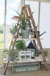 10 erstaunliche Ideen, um Ihren eigenen hölzernen Leitergarten zu machen