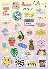 VSCO Light Pink Blue Yellow Funny Stickers for Girls for Bottle Phone Case Laptop Tumbler 30 Pcs