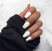 white nails glitter | white acrylic nails short | white nail art ideas | whitego