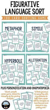 Figurative Language Kind : 100 Card Sorting Sport