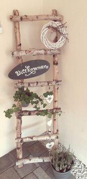 Birken Leiter Deko DIY #frühling #birken #dekofrühlinghauseingang #fruhling