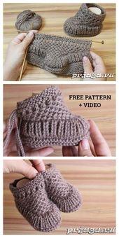 Knit Warm Baby Booties Free Knitting Pattern + Video – Knitting Pattern – Handwerk