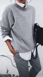 Weicher grauer Pullover mit weißem Hemd sieht toll aus