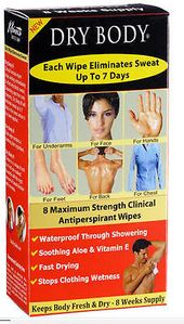 Details about Sweat Wipe-Dry Body-Antiperspirant-Clinical Strength-Reduce Sweat-Wipes 8pk