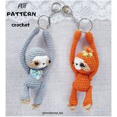 Amigurumi pattern sloth miniature toy pdf crochet tutorial keychain Charm bag Accessories