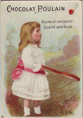 Chromo Chocolat Poulain Girl With Badminton Racquet Vex2 156 Badminton Photo Candy Labels