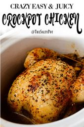 SUPER EASY CROCKPOT CHICKEN. This slowcooker chicken is one of the simplest ways…   – Crockpot