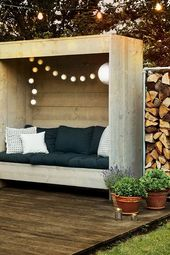 Photo of A seat with a back wall for relaxing days in the garden. Homemade. So … – Diyprojectgardens.club